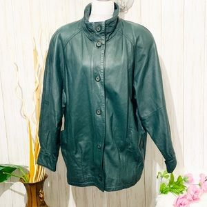 Vintage 80s Jaqueline Ferrar Green Leather Jacket
